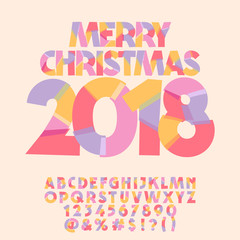 Vector Merry Christmas greeting card for Children. Slice Alphabet Letters, Numbers, Symbols.
