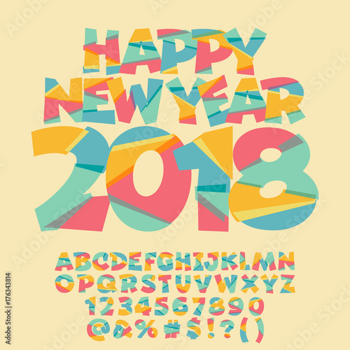 Vector Happy New Year 2018 Greeting Card For Children Bright