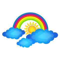 Rainbow above the clouds and the sun