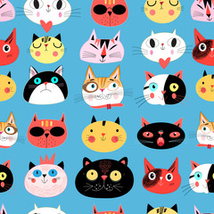 Vector bright seamless pattern of multi-colored cat portraits