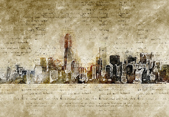skyline of new york in modern and abstract vintage look