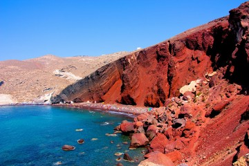 Aluminium Prints Santorini beautiful red beach in santorini