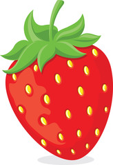 Red ripe cartoon strawberry symbol with green leaves.