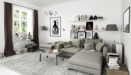 Bcher Im Wohnzimmer Einrichtung Und Dekoration