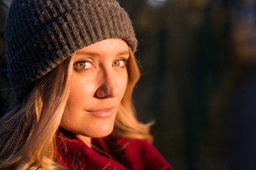 Woman portrait at sunset in autumn in Verona