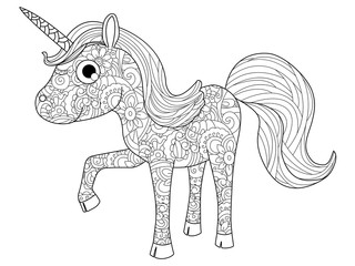 Children Toy unicorn coloring raster for adults