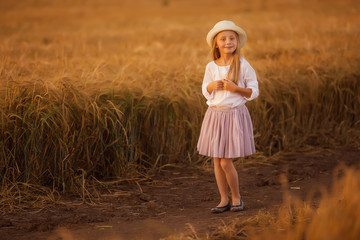 Portrait of a cute beautiful girl with long hair on the background of a wheat field on a summer evening