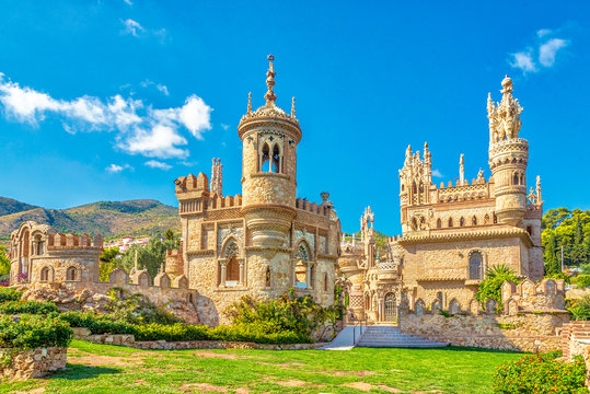 View at the Colomares castle in Benalmadena, dedicated of Christopher Columbus - Spain