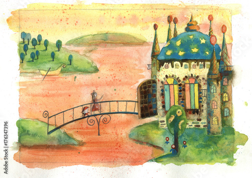 Hand drawn illustration. A fairy tail castle in a magic colorful country. A girl and nutcracker are walking through the bridge to the magic palace made from sweets and caramel.  Time of magic stories.