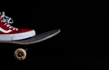 Skateboard and dark background