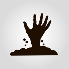 Hand from the graveyard isolated vector icon