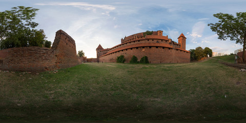 Malbork, Polish, July 29 2016: Full 360 degree equirectangula panorama The Castle of the Teutonic Order in Malbork
