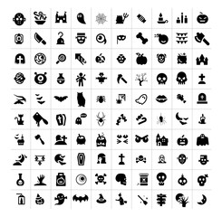 Halloween icons set, isolated flat vector signs