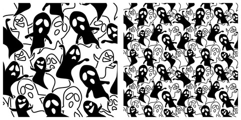 Ghost seamless background. Left is single pattern  right is assembly of 4 patterns