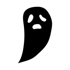 Illustration for Halloween. Picture of a cartoon ghost. Vector graphics. Hand drawing