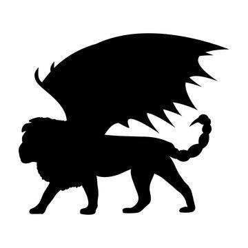 Manticore silhouette mythology symbol fantasy.