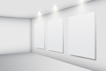 Realistic white gallery interior with empty picture frames, vector illustration
