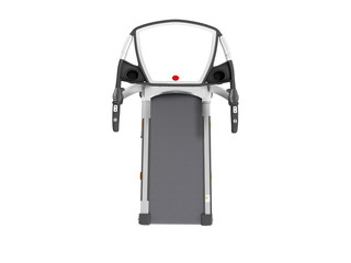 Modern sports treadmill on top gray with black metal 3d render on white background no shadow