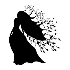 Dryad nymph forest silhouette ancient mythology fantasy