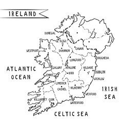 Ireland hand drawn map vector illustration with main cities including Dublin. Ink freehand image of irish territory surrounded by ocean an sees. Template for tourist guides, postcards and merchandise.
