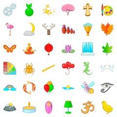 Newborn icons set, cartoon style