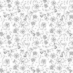 Abstract black and white natural ornament. The stylized flowers and leaves. Vector.