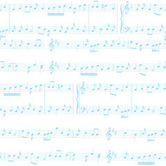 vector background - white and blue seamless pattern with music notes