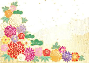 華やか 新年 波 花柄