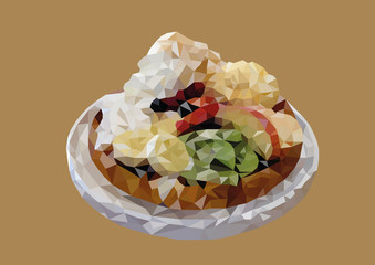 Abstract of Mixed fruit waffle low poly vector with brown background