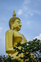 The big golden Buddha statue in Muang temple, Ang Thong, Thailand.