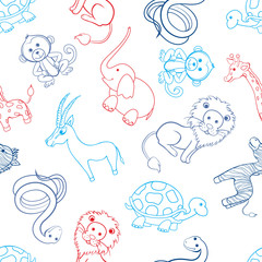 African cartoon animal turtle, giraffe, lion, zebra, gazelle, zebra, monkey, elephant, snake isolated on white background, Vector seamless pattern, line art, Character design for textile, wallpaper