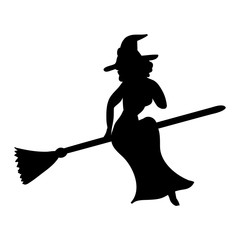 Witch magical silhouette fantasy broom.