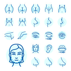 Plastic surgery body parts face correction infographic icons anaplasty medicine skin treatment beauty health procedure vector illustration