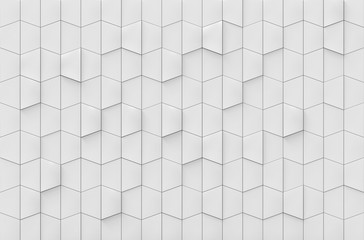 3d rendering. luxury white trapezoid square tiles wall background
