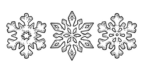 Set Snowflakes. Vector vintage black engraving illustration.