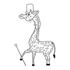 Decorative cute funny count giraffe with cylinder, tie, cane, glasses cartoon vector kids illustration isolated on white background suitable for logo, mascot, character design, baby card, zoo alphabet