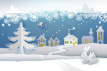 Paper cut and craft winter landscape with evergreen tree, house, snowman, moon and snowflakes. Holiday nature and christmas tree. Web banner. Vector illustration. Merry Xmas. Snowing weather