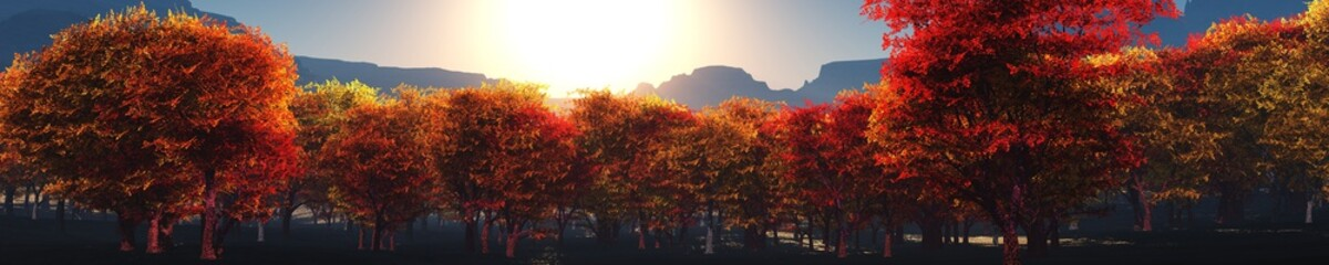 Autumn in the mountains, a panorama of autumn trees against the background of mountains