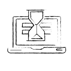 figure laptop technology searching with hourglass icon