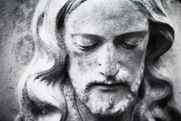 Acrylic Prints Historical buildings fragment of antique statue Jesus Christ as a symbol of love, faith and religion.