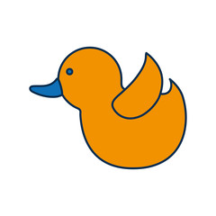 cute duck icon over white background vector illustration