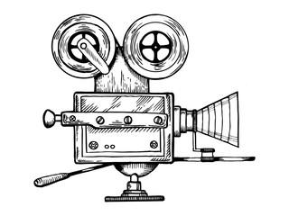 Old movie camera engraving vector illustration