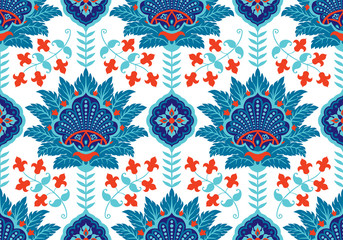 Turkish, Arabic, African, Islamic Ottoman Empire's era traditional seamless ceramic tile, vector floral pattern