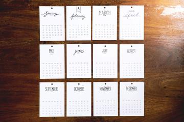 Vintage calendar 2018 handmade on wooden wall