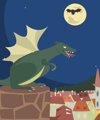 dragon looking at town vector cartoon