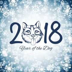 Happy new year of the dog card, vector illustration
