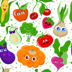 Seamless pattern with funny cartoon fruit and vegetables. Texture for wallpapers, textile design, web page backgrounds