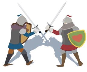 fighting knights vector cartoon