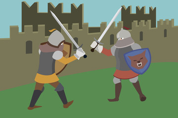knights fighting near castle wall vector cartoon