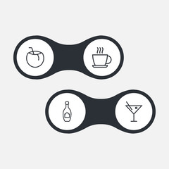 Set Of 4 Drinks Outline Icons Set.Collection Of Hot Drink, Coconut, Champagne And Other Elements.
